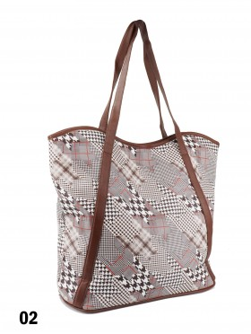 Houndstooth Print Tote Bag With Faux Leather Accents