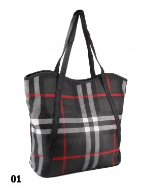 Plaid Print Tote Bag With Faux Leather Accents