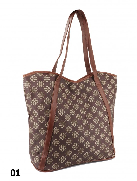 Floral Print Tote Bag With Faux Leather Accents