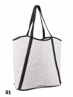 Diamond Print Tote Bag With Faux Leather Accents