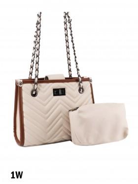 Chevron Leather Satchel Bag W/ Small Pouch