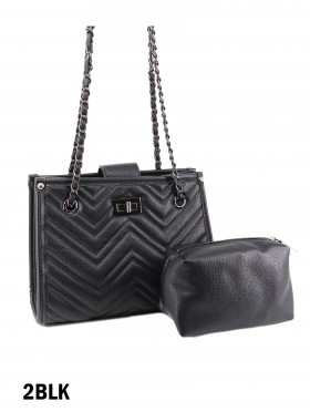 Chevron Leather Satchel Bag W/ Small Pouch