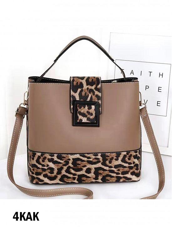 Leopard Detailing Faux Leather Satchel Bag