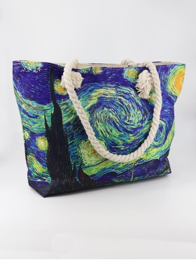 Starry Night Oil Painting Shoulder Bag