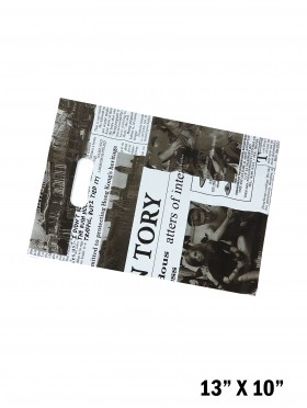 White Newspaper Print Gift Bags (50 Pcs)