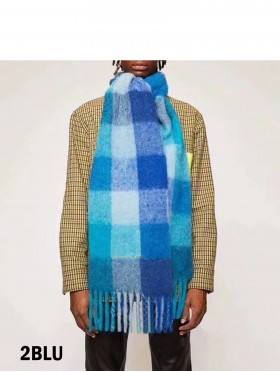 Plaid Patterned Blanket Scarf with Long Fringe