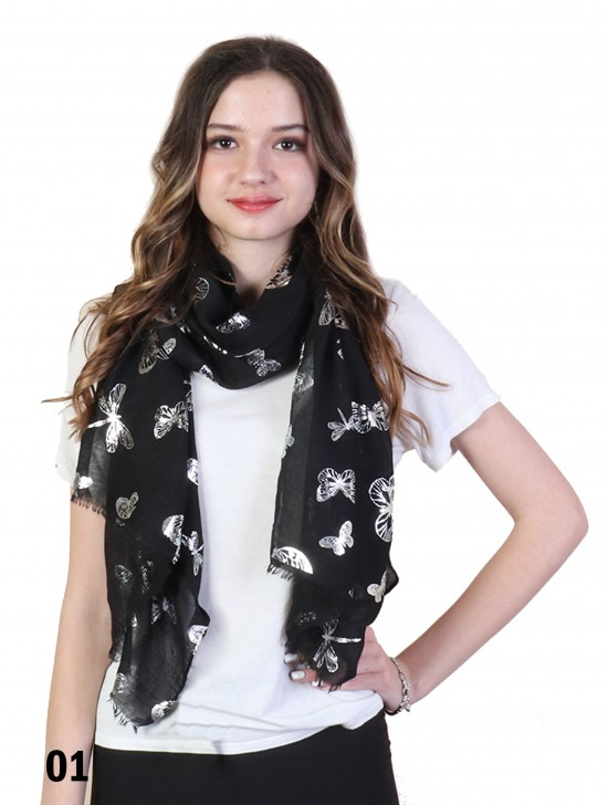 Foil Butterfly & Dragonfly Print Scarf
