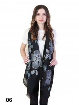 Butterfly Print Fashion Scarf W/ Pearl