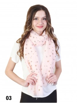 Sparkle Dots Print Scarf W/ Pearl