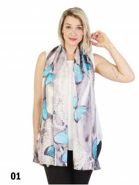 Butterfly Print 100% Silk Scarf