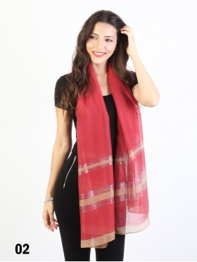 Solid Color Scarf with Wide stripes