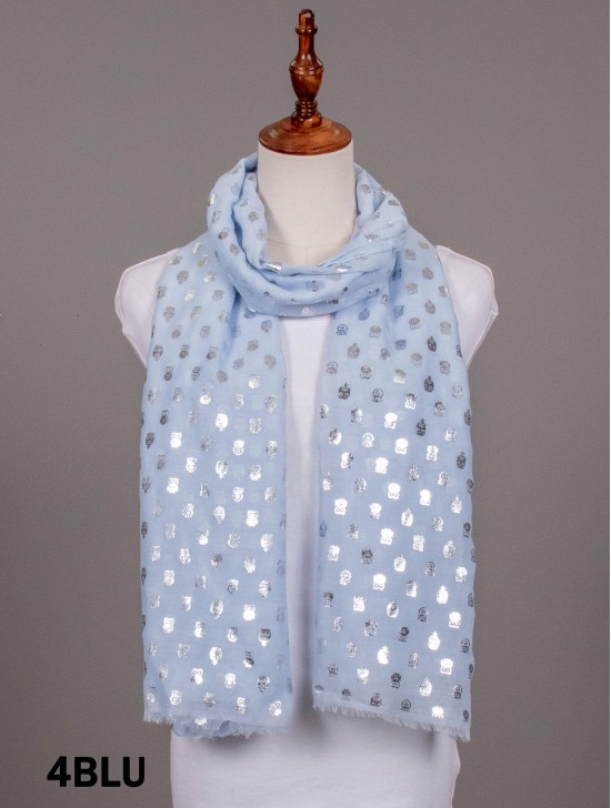 Metallic Owl Print Fashion Scarf