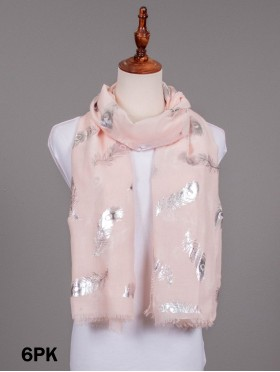 Foil Feather Print Fashion Scarf