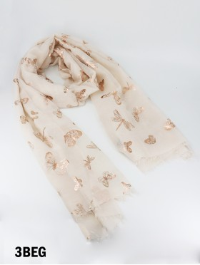 Foil Butterfly Print Fashion Scarf