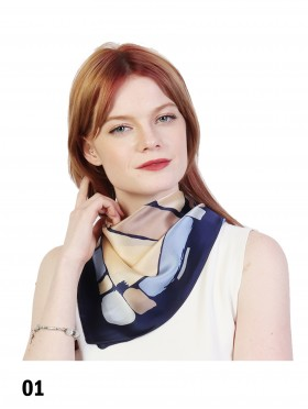 Vintage Style Color Block Print Fashion Square Scarf