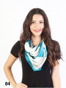 Vintage Style Belt Print Fashion Square Scarf