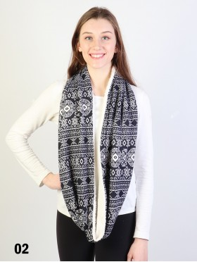 TWO TONE PATTERN LOOP SCARF