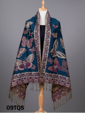 2-Tone Butterfly Pashmina W/ Gold Threads