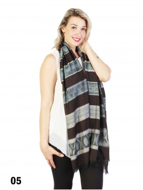 Abstract Printed Two-Tone Scarf W/ Fringe