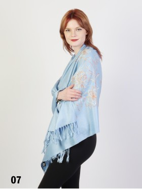 Two-Tone Thread Flower Embroidery Pashmina Scarf W/ Tassels & Sequins