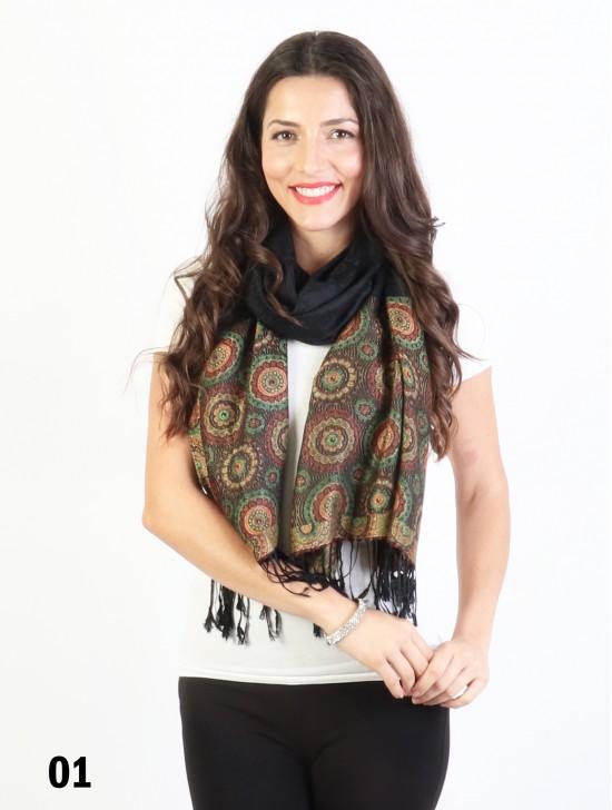 Circle Print Fashion Pashmina W/ Tassels