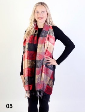 Maple Leaf Print Pashmina W/ Tassels