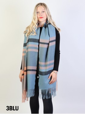 Striped Blanket Scarf w/ Tassels