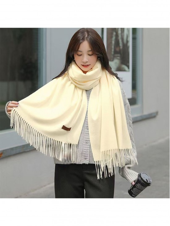 Premium Cashmere Feeling Solid Color Scarf W/ Tassels