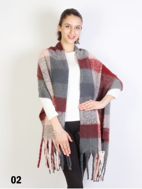 Plush Checker Scarf W/ Long Fringe