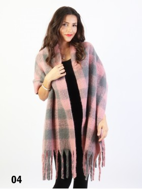 Plush Speckled Checker Scarf W/ Long Fringe