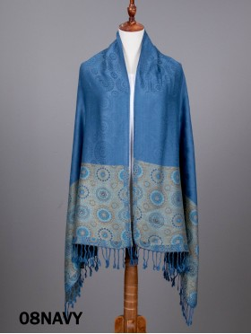 Circle Print Fashion Pashmina W/ Tassels