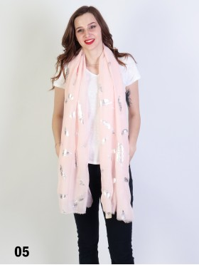 Foil Feather Print Scarf