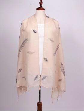 Feather Print Tassels Fashion Scarf W/ Pearl