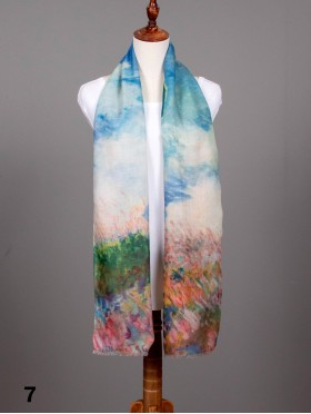 Women with a Parasol Oil Painting Design Fashion Scarf