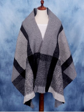 Soft Color Blocked Blanket Scarf