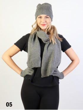Fashion Knitted Set W/ (Scarf, Hat, Gloves)