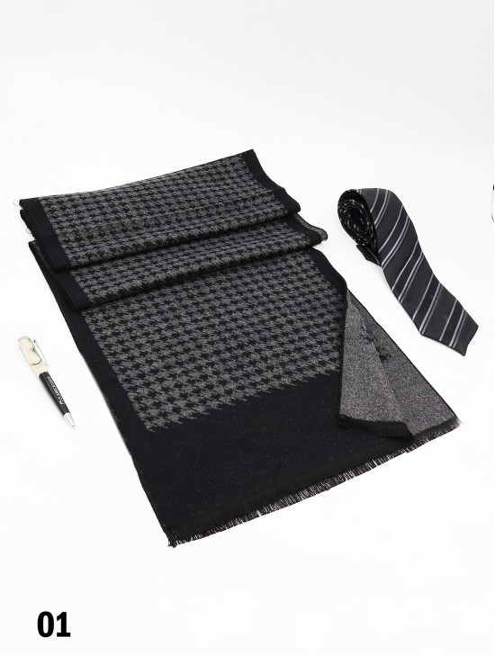 Unisex Reversible Houndstooth Print Scarf