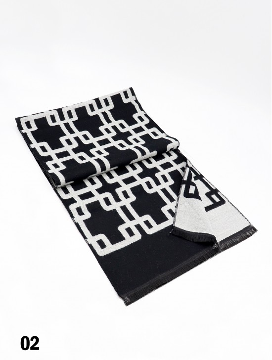 Reversible Maze Print Cashmere Feeling Scarf