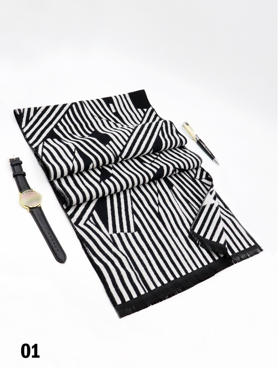 Reversible Cross Striped Cashmere Feeling Scarf