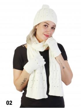 Rhinestone Knitted Matching Set (Scarf, Hat, Gloves)