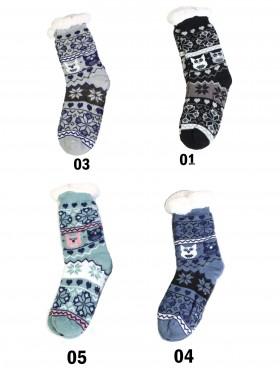 Kitten & Snowflake Print Indoor Anti-Skid Slipper Socks