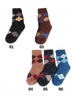 Indoor Men Anti-Skid Slipper Socks W/ Argyle Patterns