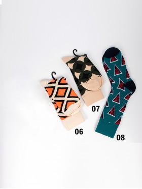 Abstract Print High-Rise Socks