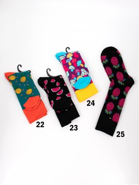 Cartoon Fruits Patterned High-Rise Socks