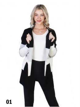 Stripe Contrast Color Sweater W/ Closure Hook