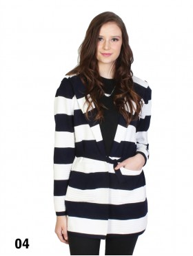 Striped Open-Front Sweater W/ Pockets