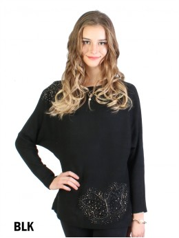 Mesh Butterfly Bat Sleeve Top With Rhinestone