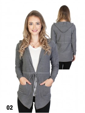 Knitted Open-Front Sweater W/ Front Tie & Pockets