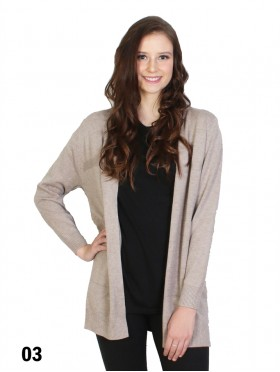Solid Color Open-Front Sweater W/ Pockets