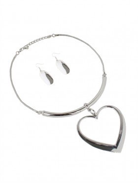Heart-shaped Statement Necklace W/ Earring Set